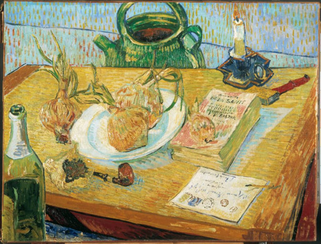 Naturaleza muerta con plato de cebollas, de Vincent van Gogh, Museo Kröller-Müller de Otterlo, en Holanda.