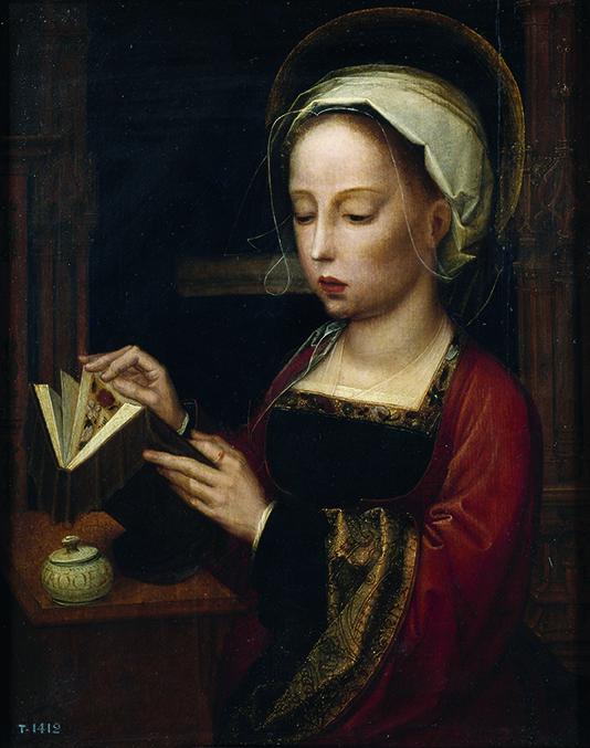 """""""La Magdalena leyendo"""", por Adriaen Isembrandt, primeramitad del siglo XVI, óleo sobre tabla, 45x34cm."""
