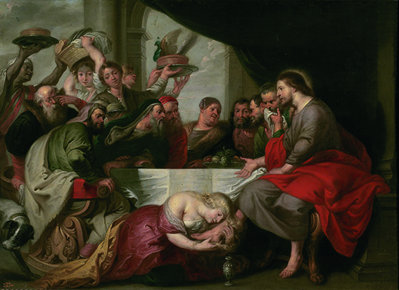 """""""La Magdalena en casa del fariseo"""", por Pieter van Lint (copia de la obra de Rubens), sigloXVII, óleo sobre lámina de cobre, 67x92cm."""