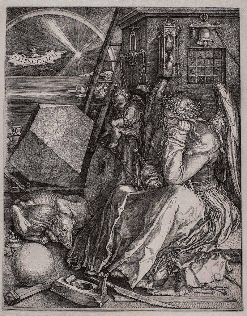 Melancolía I (La Melancomía), de Alberto Durero, 1514, buril, 24,2 x 18,8 cm, Viena, Akademie der bildenden Künste, Kupferstichkabinett.