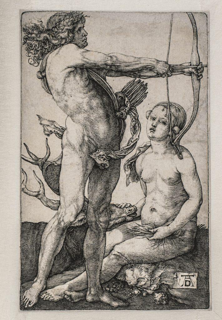 Apolo y Diana, de Alberto Durero, h. 1503, buril, 11,5 x 7 cm, Viena, Akademie der bildenden Künste, Kupferstichkabinett