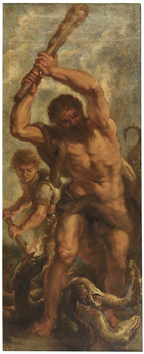 Hércules y la hidra de Lerna, por Juan Bautista Martínez del Mazo, óleo sobre lienzo, 117 x 49 cm, s. XVII, Madrid, Museo Nacional del Prado.