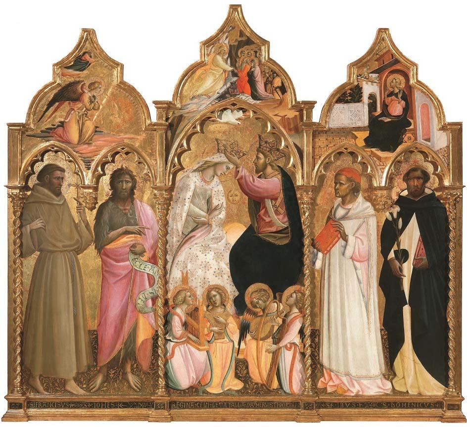 Coronación de la Virgen (parte central), San Francisco de Asís y San Juan Bautista (parte izquierda) y Sant'Ivo y san Domenico (derecha), de Giovanni dal Ponte, h, 1430, 194 x 215,7 cm, Florencia, Galería de la Academia.