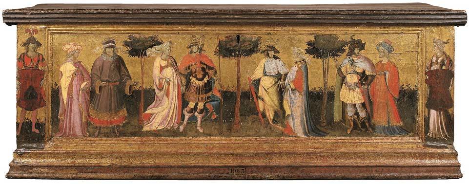 Jardín del Amor, de Giovanni dal Ponte, témpera sobre tabla, 41,8 x 146 cm, Parigi, Institut de France, Musee Jacquemart-Andre.