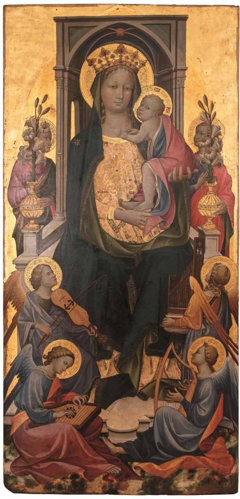 Parte central del políptico: Virgen con el Niño y un ángel, de Gherardo Starnina, témpera sobre tabla, 161 x 77 cm, Wurzburg, Martin von Wagner Museum der Universitat Wurzburg.