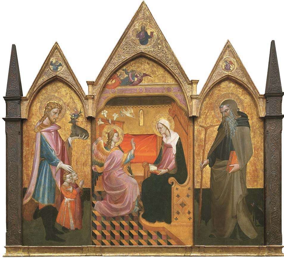 Anunciación junto a san Eustaquio, san Antonio Abad; Bendición de Cristo y ángeles, de Giovanni dal Ponte, h. 1410-15, témpera sobre tabla, 205 x 230 cm, Campi Bisenzio (Firenze), Museo di Arte Sacra di San Donnino.