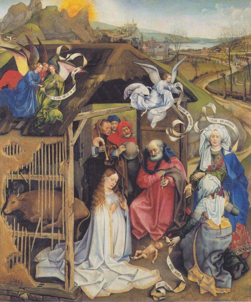 Adoración de los pastores, de Robert Campin, h. 1420, óleo sobre tabla