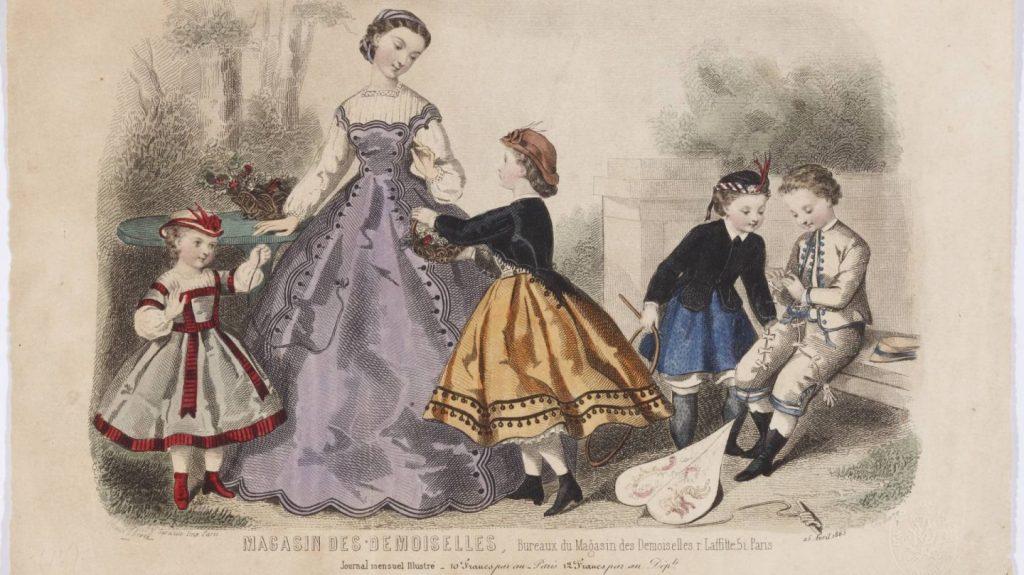 """Figurín del """"Magasin des Demoiselles"""", 1865, aguafuerte, Madrid, Museo del Romanticismo."""