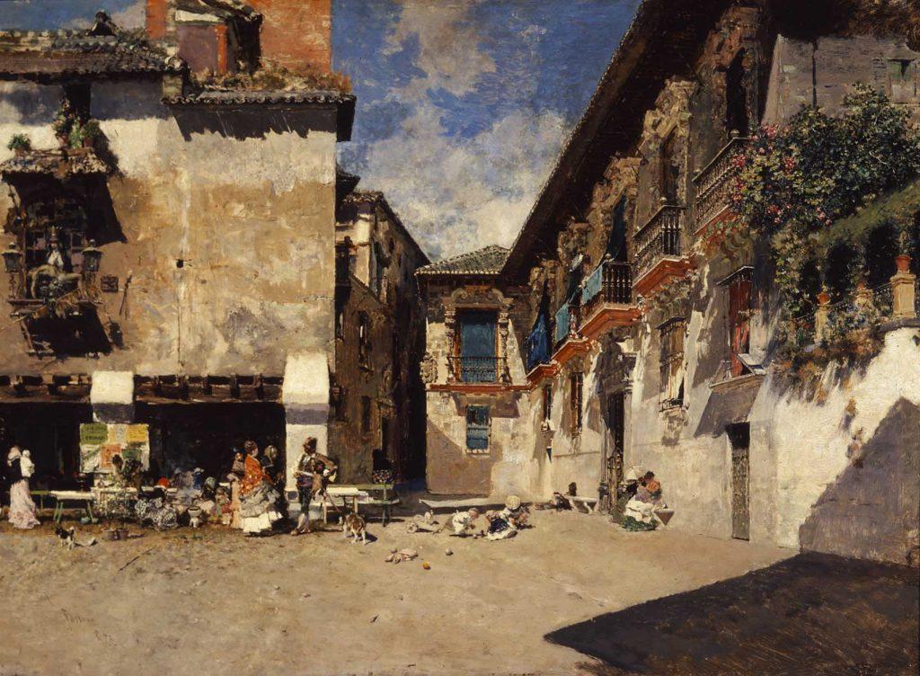 """""""Ayuntamiento viejo de Granada"""", 1873, óleo sobre tabla © Museo de Bellas Artes de Granada (2016). Foto Javier Algarra."""