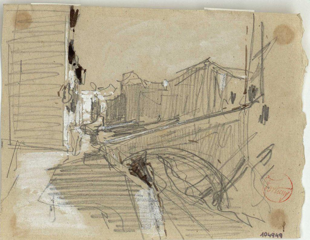 """""""El río Darro"""", h. 1870-72, lápiz graito, gouache y tinta al pincel sobre papel coloreado © Museu Nacional d'Art de Catalunya, Barcelona (2016) Foto: Jordi Calveras."""
