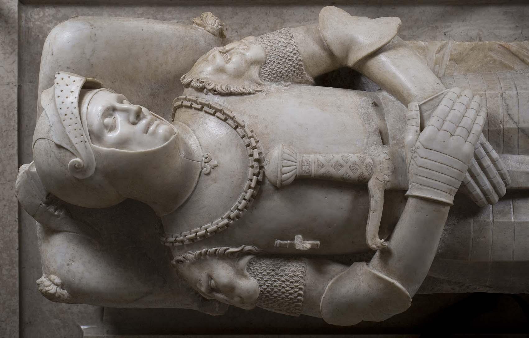 Lápida sepulcral de Guidarello Guidarelli, de Tullio Lombardo, 1532, mármol de Carrara, 32,5x172x60 cm, Rávena, Museo de la Ciudad.
