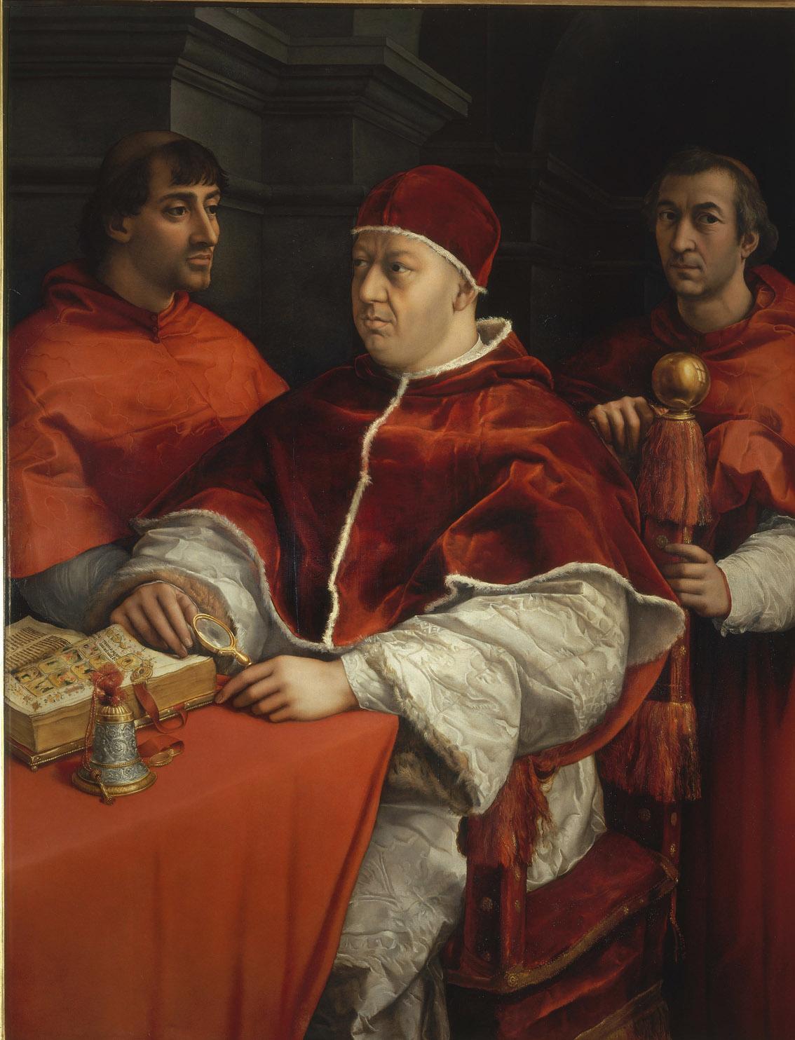 Retrato de León X con el cardenal Luis de Rossi y Juio de Medici, de Rafael Sanzio, 1517-18, óleo sobre lienzo, Florencia, Galería de los Uffizi.