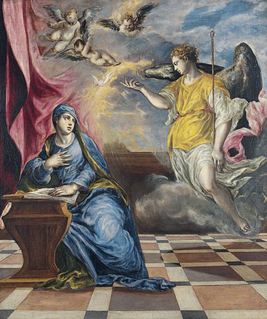 Sobre estas líneas, La Anunciación, del Greco, h. 1576, óleo sobre lienzo, 117 x 98 cm. Arriba, detalle de La Anunciación, del Greco, h. 1596-1600. Ambas obras pertenecen a la colección del Museo Thyssen-Bornemisza de Madrid.