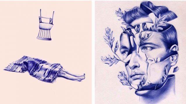"""""""El bolígrafo azul se presta muy bien a mis temas oníricos y surrealistas"""""""