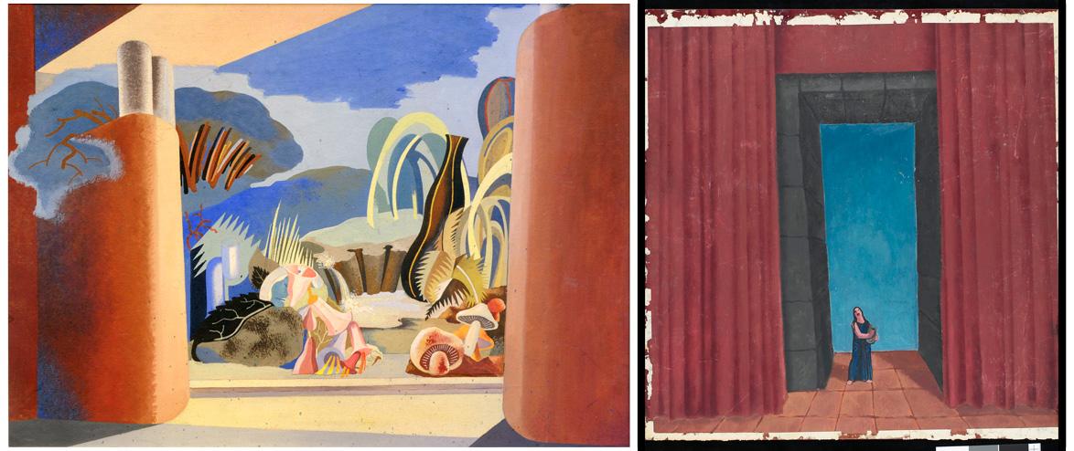 "Izq: Boceto de Enrico Prampolini para ""Il castello nel bosco"" (1931). Témpera sobre cartón. A la dcha: Boceto para ""Orfeo"" (1934) de Felice Casorati. Óleo sobre madera."