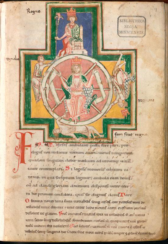 Manuscrito original con la rueda de la fortuna.