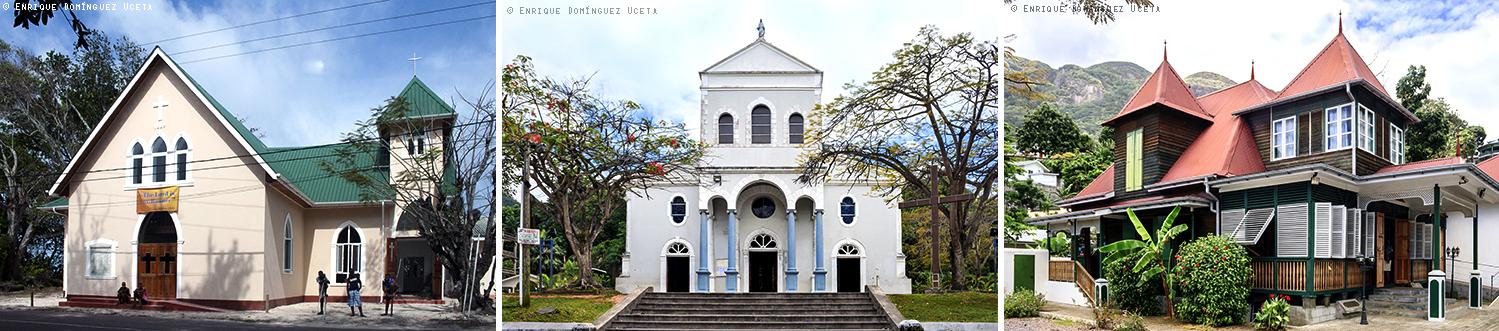 En Mahé, iglesia rural en el sur, y, en Victoria, catedral cristiana y arquitectura créole. © Enrique Domínguez Uceta