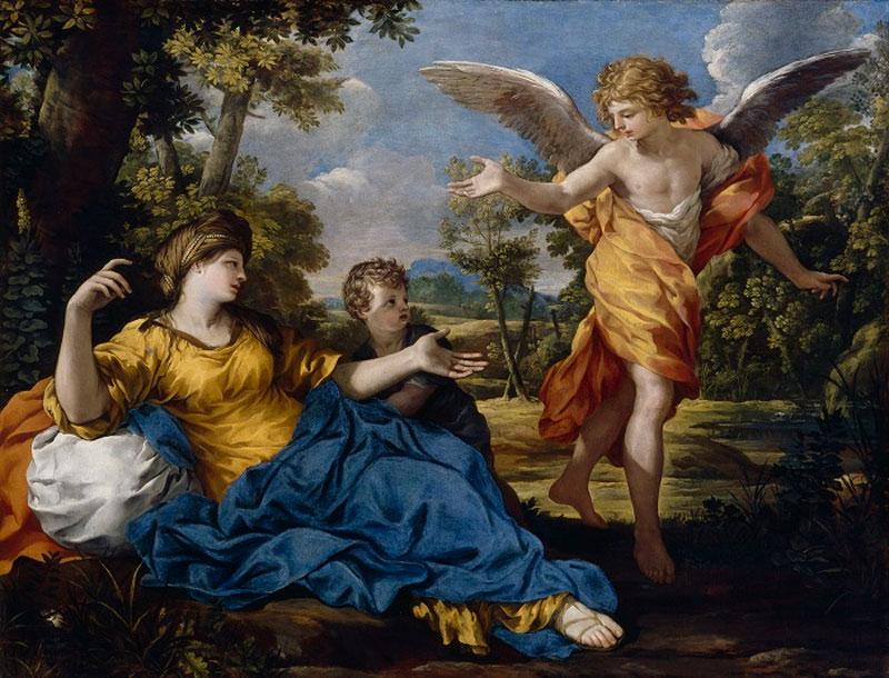 Agar y el ángel, por Pietro da Cortona (apx. 1643), lienzo al óleo.