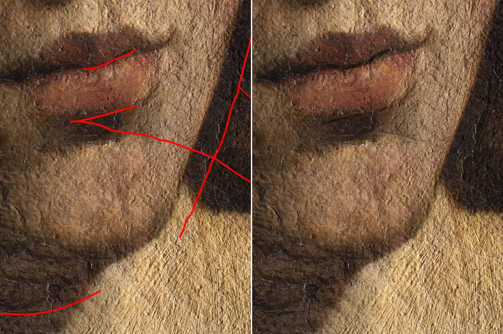 """Caravaggio: """"Santa Catalina de Alejandría"""" Artes & contextos Detalles incisiones sin"""