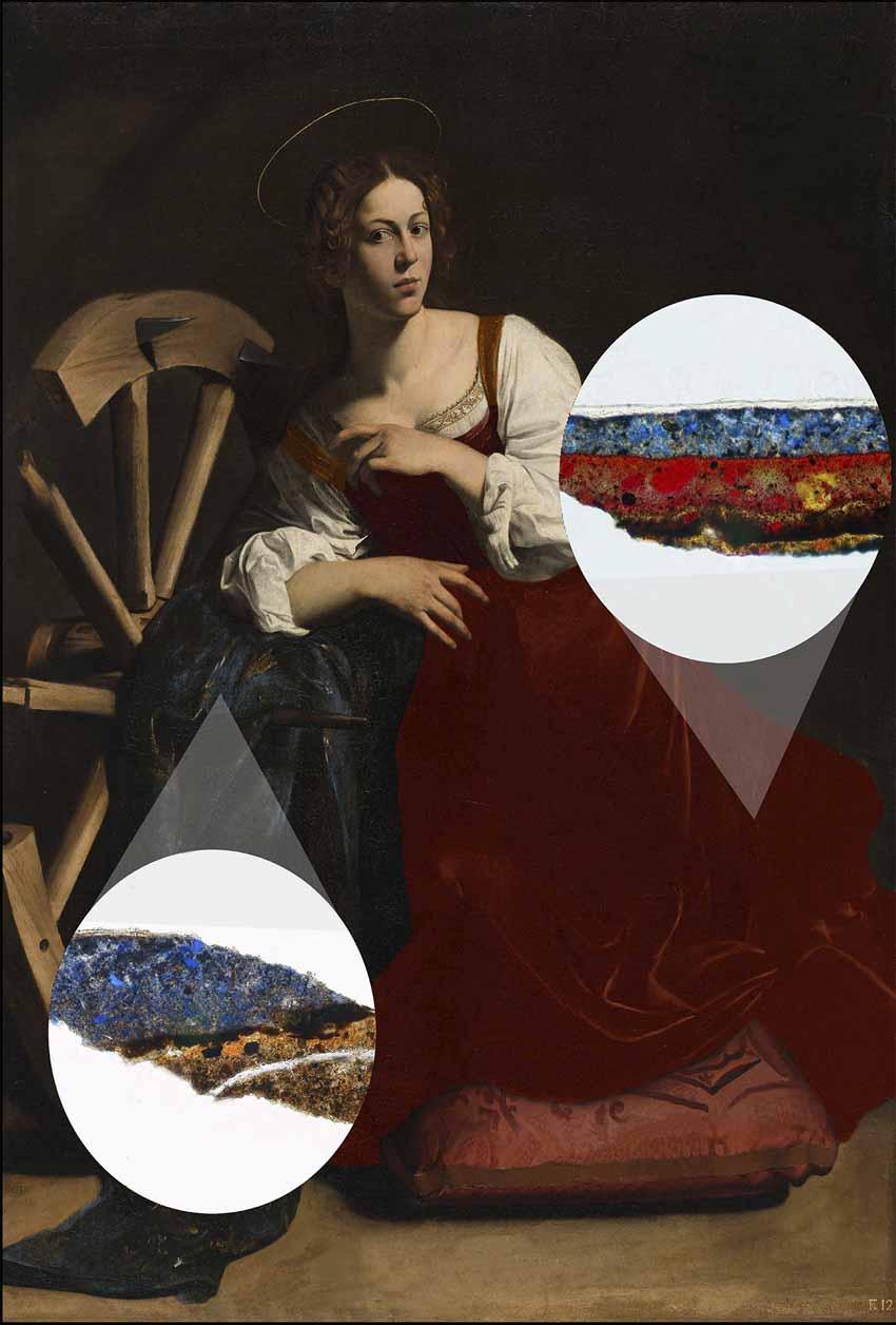 """Caravaggio: """"Santa Catalina de Alejandría"""" Artes & contextos Hipotesis del primer color del vestido de la santa 1 sin"""