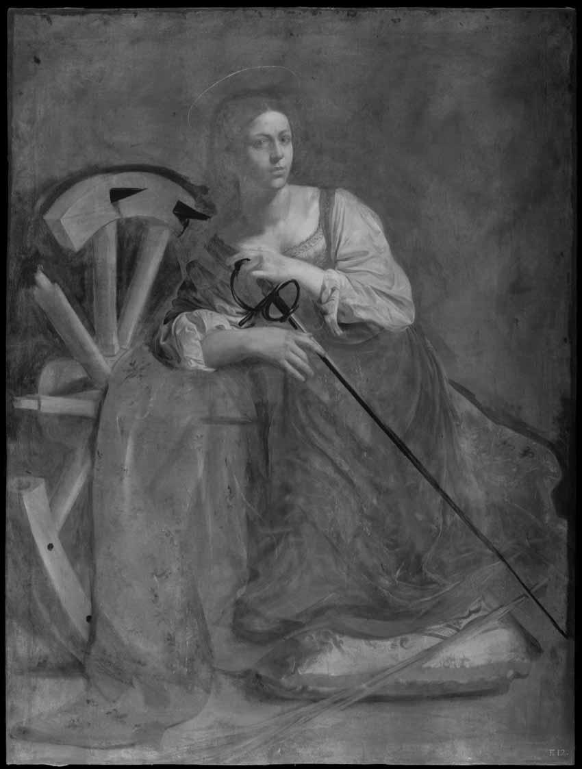 """Caravaggio: """"Santa Catalina de Alejandría"""" Artes & contextos Reflectografia infrarroja sin"""