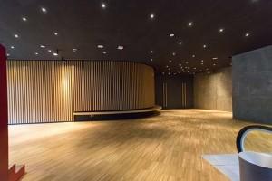 Entrada al auditorio de CaixaForum Zaragoza. Fotografía: José Antonio Melendo (Estudio Novo).