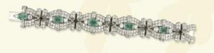Brazalete de los años 20 de platino, esmeraldas y diamantes.