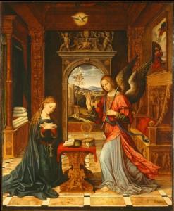 La Anunciación, por Pier Francesco Sacchi.
