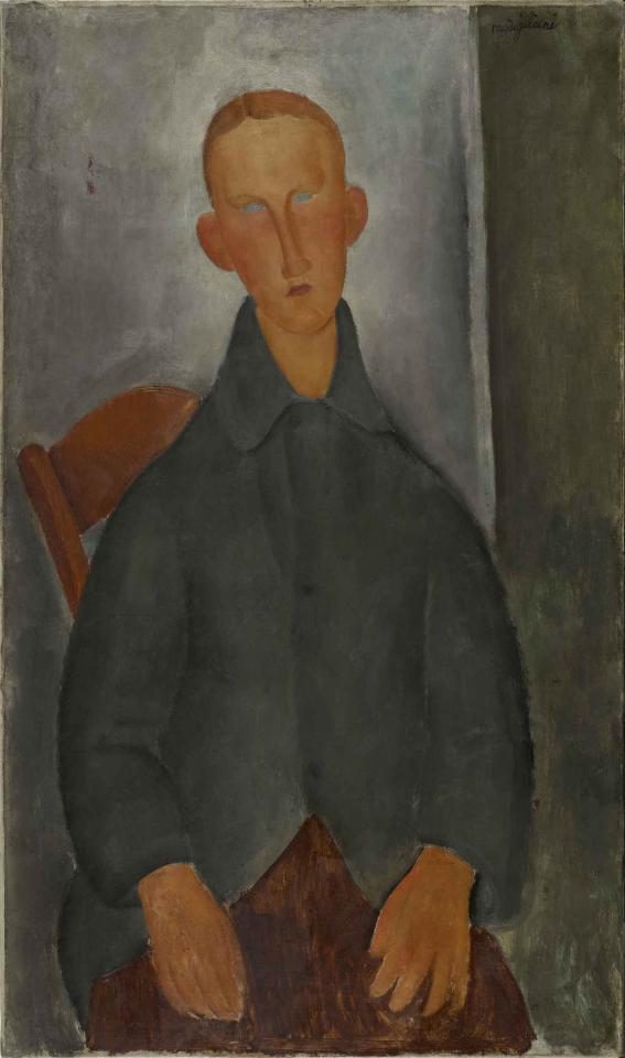 Giovane ragazzo rosso, por Modigliani, 1919, París,  Centro Pompidou.