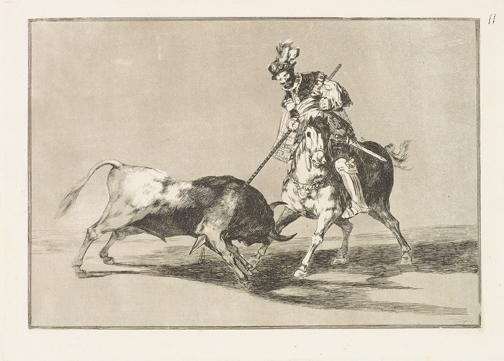 Uno de los grabados de La Tauromaquia, por Goya.