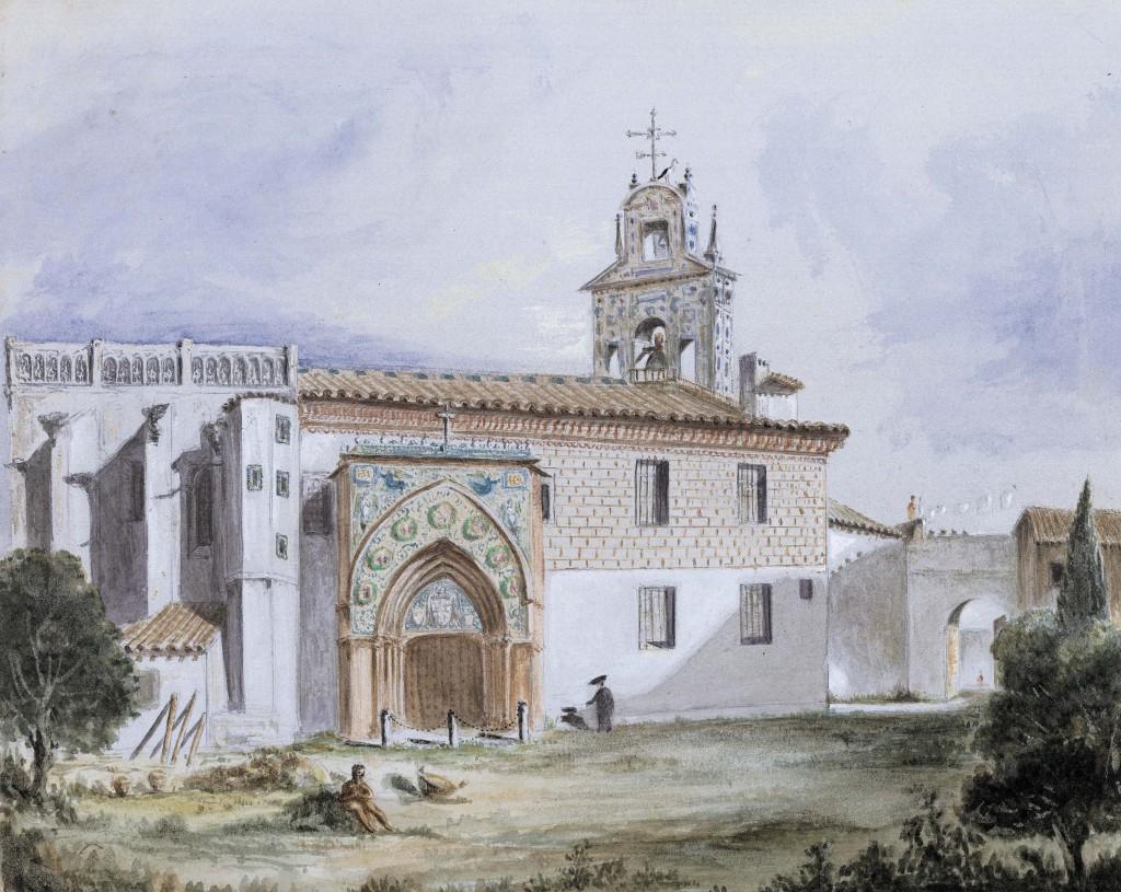 Sevilla. Iglesia del monasterio de Santa Paula y arriba, Sevilla. Vista desde la Cartuja, acuarela sobre papel, ambos de Richard Ford. Todas las imágenes, propiedad de la familia Ford.