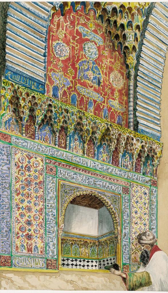 Granada. Alhambra. Nicho en la entrada del Salón de los Embajadores (Escena orientalista)