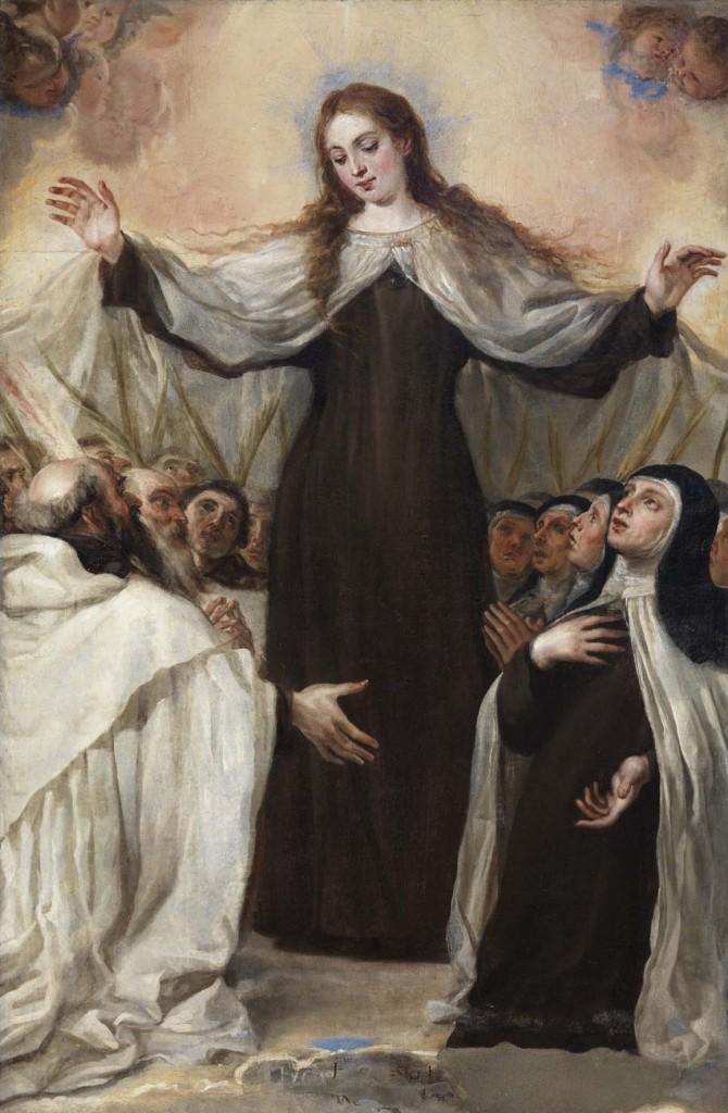 Virgen del Carmen, óleo sobre lienzo, 165 x 109 cm,  h. 1655, Iglesia de San Juan Bautista. Parroquia Almeida de Sayago (Zamora).