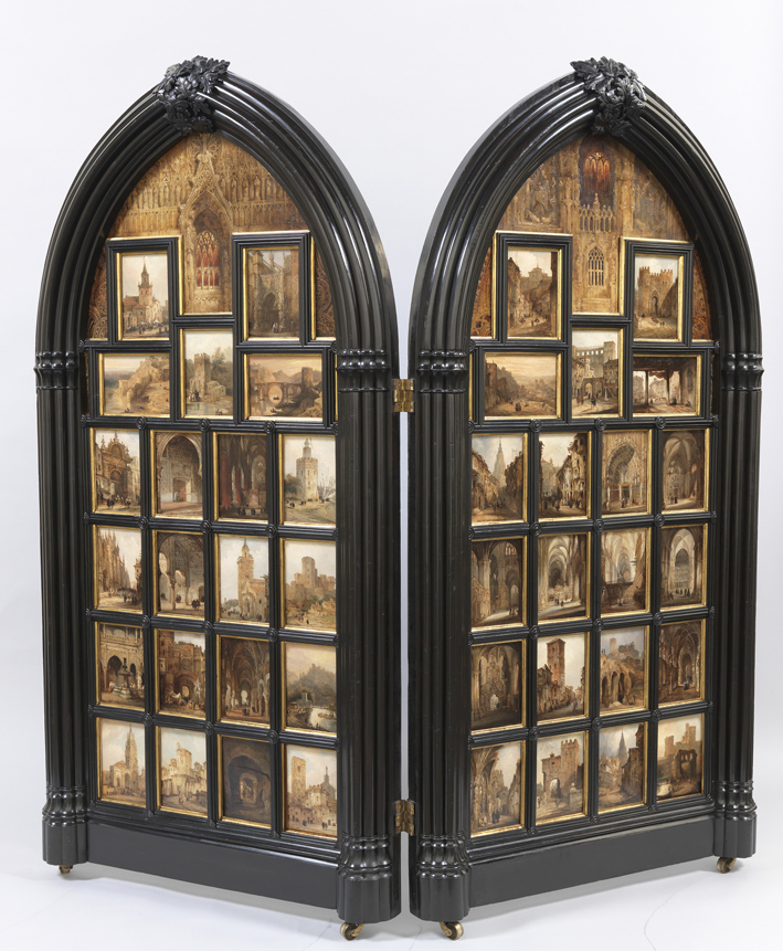 Díptico con 42 Vistas Monumentales de ciudades españolas, por Peréz Villaamil, óleo sobre hojalata y marco neogótico, 178 x 182 cm, Madrid, Museo Nacional del Prado. Arriba, Vista del puente de San Martín (Toledo), que forma parte del díptico.