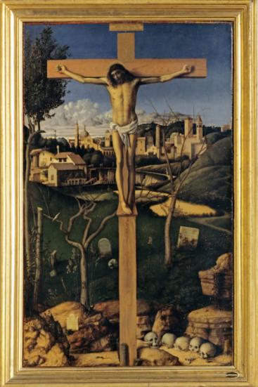 Crucificado en un cementerio hebreo, por Giovanni Bellini, 1480-1485, Colección Banca Popolare di Vicenza.