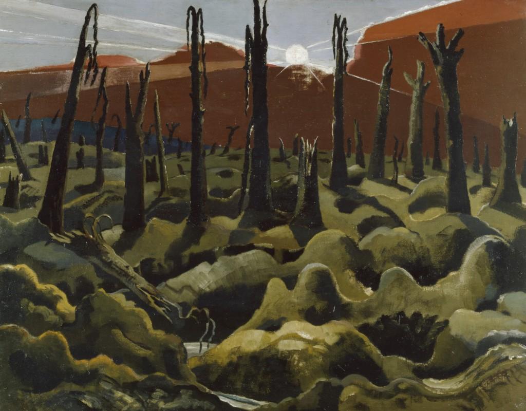 """""""Estamos construyendo un mundo nuevo"""", por Paul Nash, 1918, óleo sobre lienzo © IWM ART. Arriba, """"Los Kensingtons en Laventie"""", por Eric Henri Kennington, 1915, óleo sobre vidrio © IWM ART."""