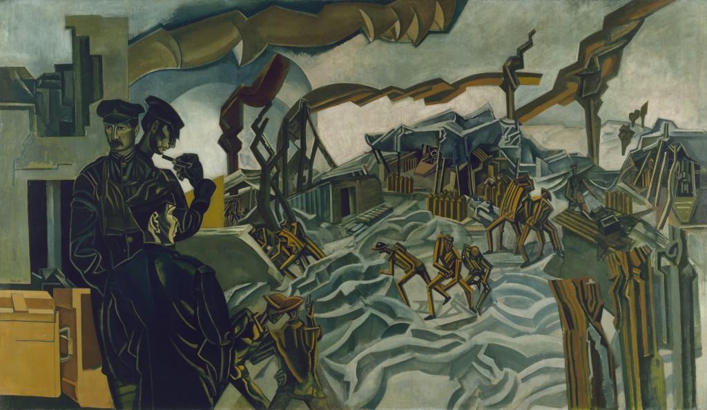 """""""Una batería bombardeada"""", por Percy Wyndham Lewis, 1919, óleo sobre lienzo © IWM ART."""
