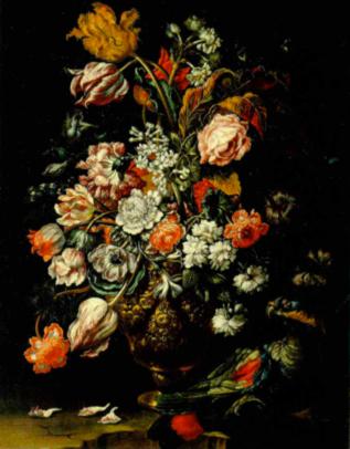 Vaso de flores con papagayo, por Abdrea Scacciati, 1700, Colección Banca Popolare di Vicenza.