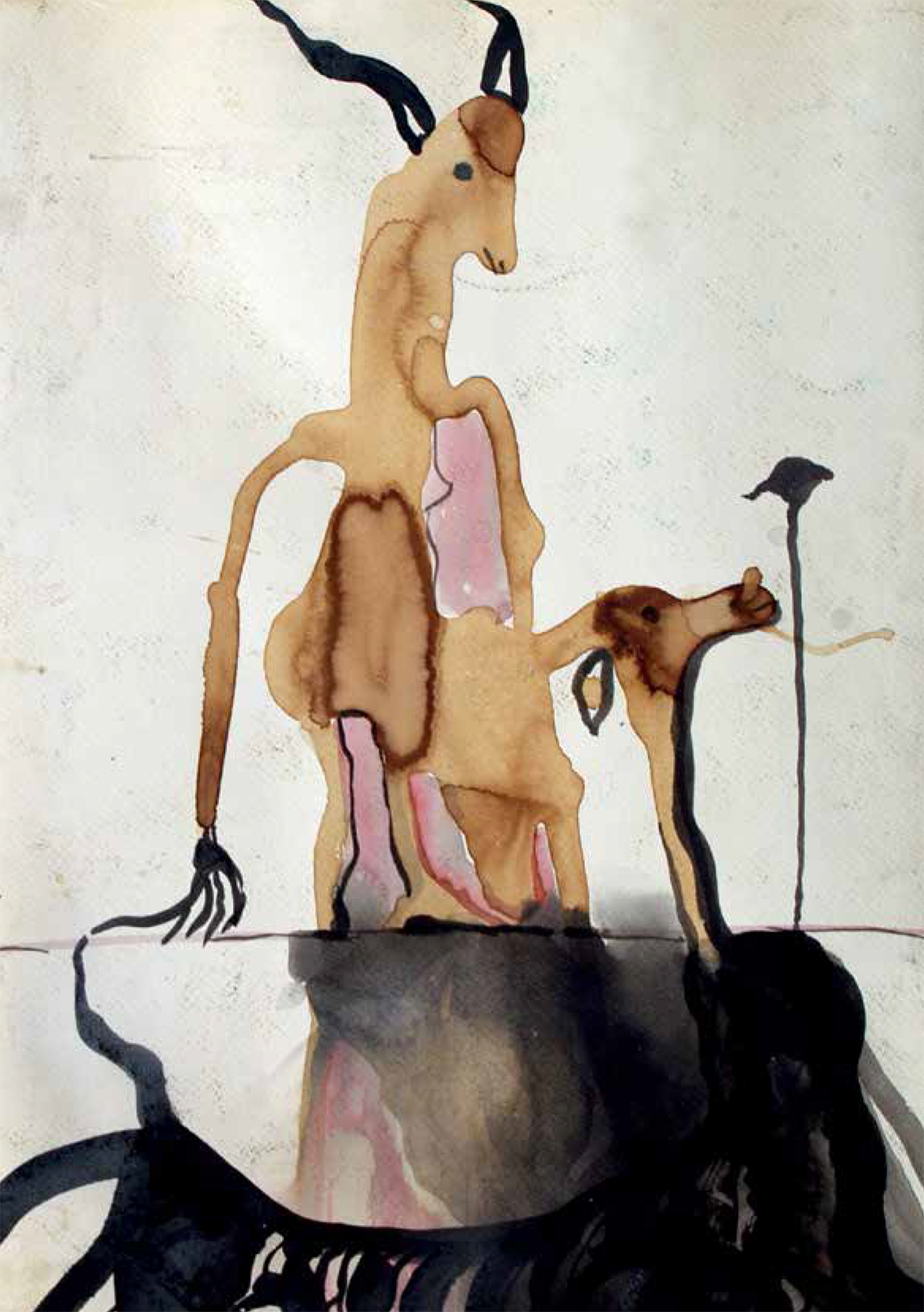 """""""Diálogo"""", café y tinta sobre papel, 30 x 60 cm, Granada, 2006."""