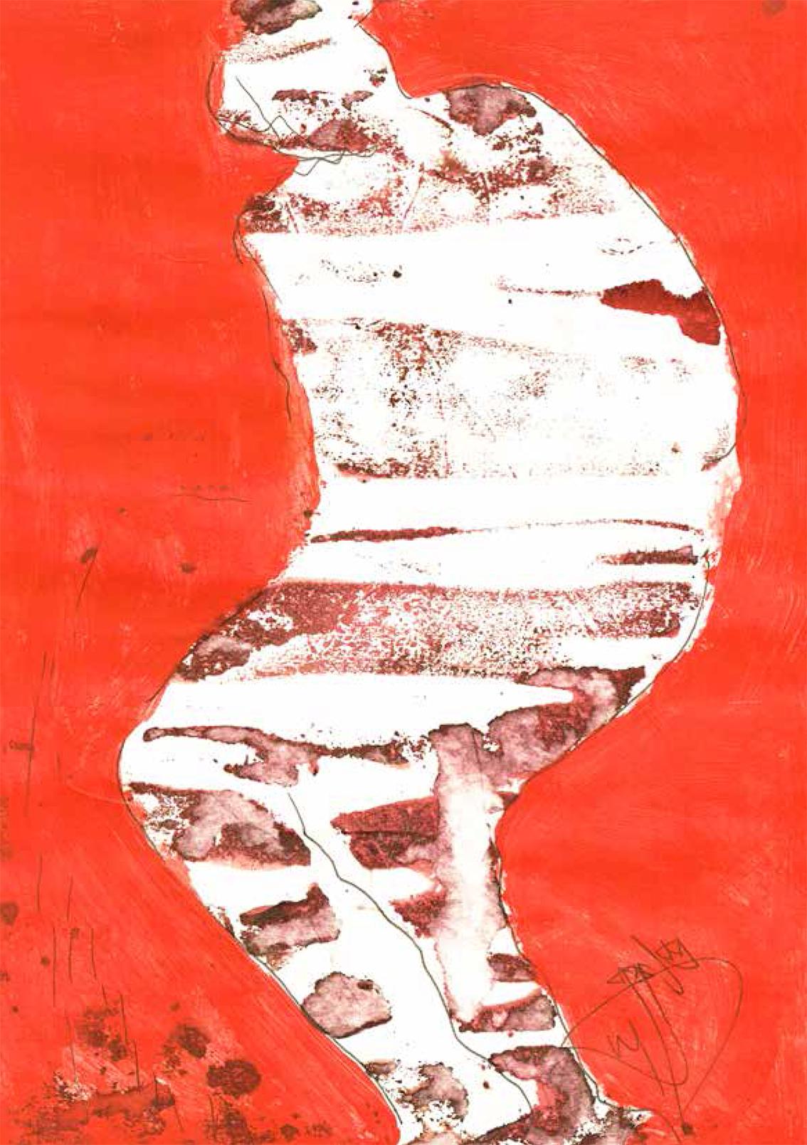"""""""Sin comentario"""", acrílico sobre papel, 21 x 29,7 cm, Granada, 2014. Arriba, """"Por el camino"""", acuarela sobre papel, 42 x 29 cm, Granada, 2009."""