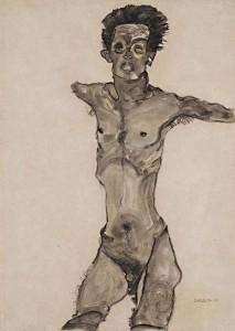 Autorretrato desnudo con la boca abierta, por Egon Schiele, 1910.