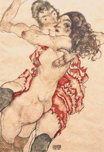 Dos mujeres abrazándose (amigas), por Egon Schiele, 1915.