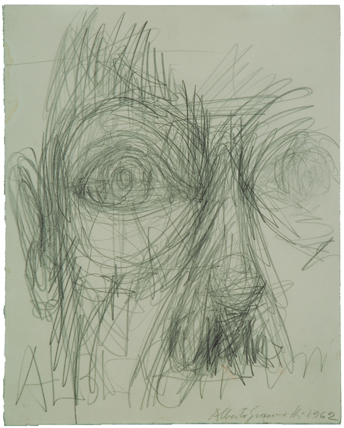 "Cabeza. Proyecto para Jacques Dupin ""Alberto Giacometti"", Ediciones Maeght, París, 1962, lápiz, 26,1x 21 cm. © Alberto Giacometti Estate / VEGAP, 2015."
