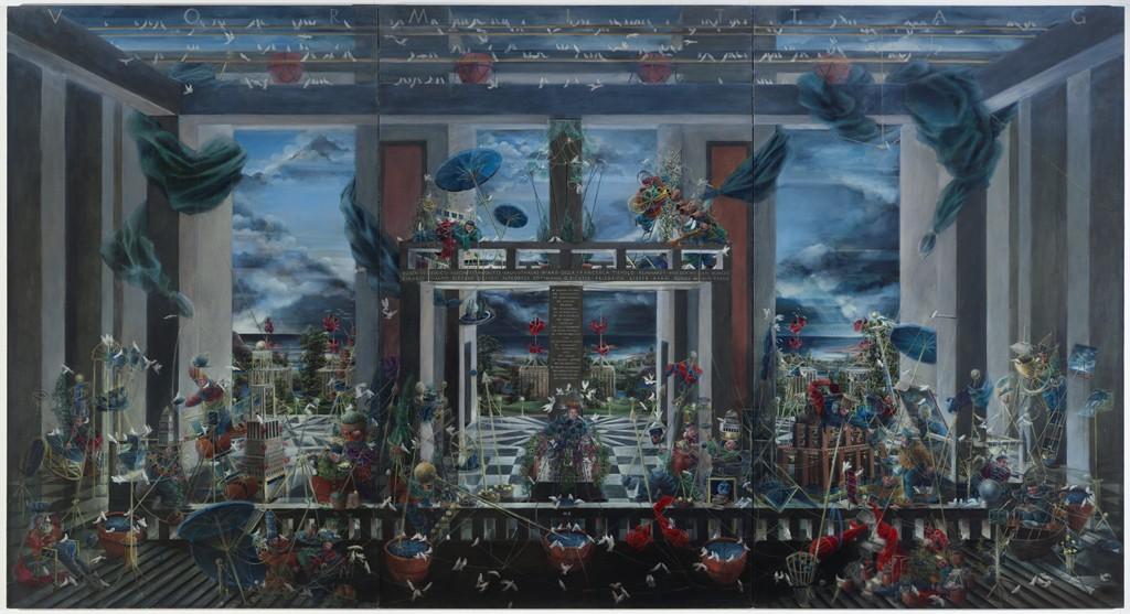 Vormitang, de Michael Kunze, 1992-95. Este tríptico de 3 metros da la bienvenida al visiante a la exposición.