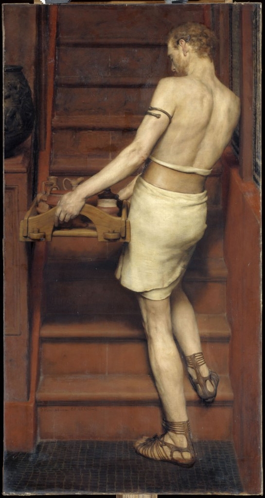 """Alfarero romano"", de Lawrence Alma-Tadema, h. 1884- 1910, óleo sobre lienzo, 152 x 80 cm, París, Musée d'Orsay © RMN-Grand Palais (musée d'Orsay) / Hervé Lewandowski."