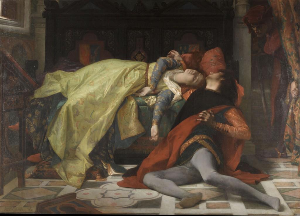 """La muerte de Francesca de Rímini y de Paolo Malatesta"", de Alexandre Cabanel, 1870, óleo sobre lienzo, 184 x 255 cm, París, Musée d'Orsay © RMN-Grand Palais (musée d'Orsay) / Adrien Didierjean."