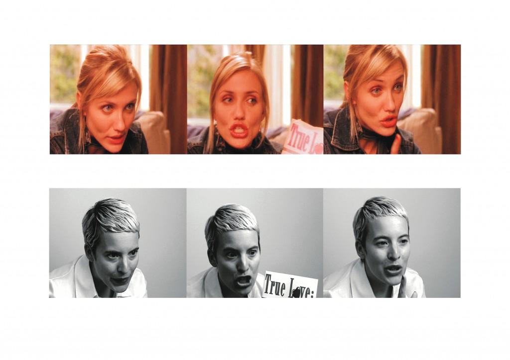 """""""Beconing"""". de Candice Breitz, 2003, videoinstalación de 14 canales en siete parejas de monitores que se dan la espalda. En un lado de estos monitores se ve una selección de escenas de películas de comedia romántica. En el monitor de al lado se ve a la propia Candice Breitz que repite cada una de las escenas."""
