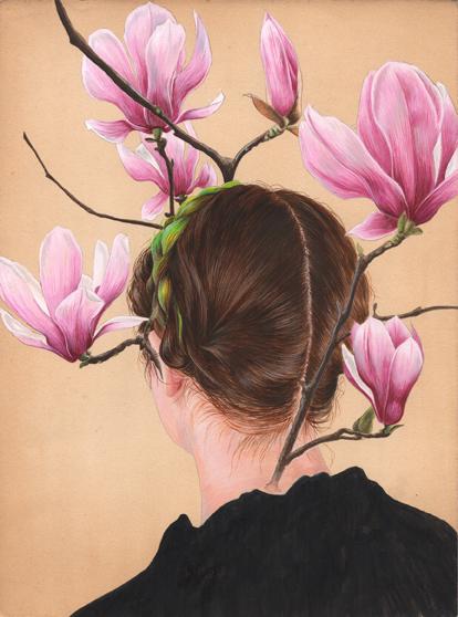 Galería Marisa Marimón. Tamara Feijoo. Naturalezas invasoras (Magnolia liliiflora), 2013. Gouache sobre papel. 23 x 30,5 cm.
