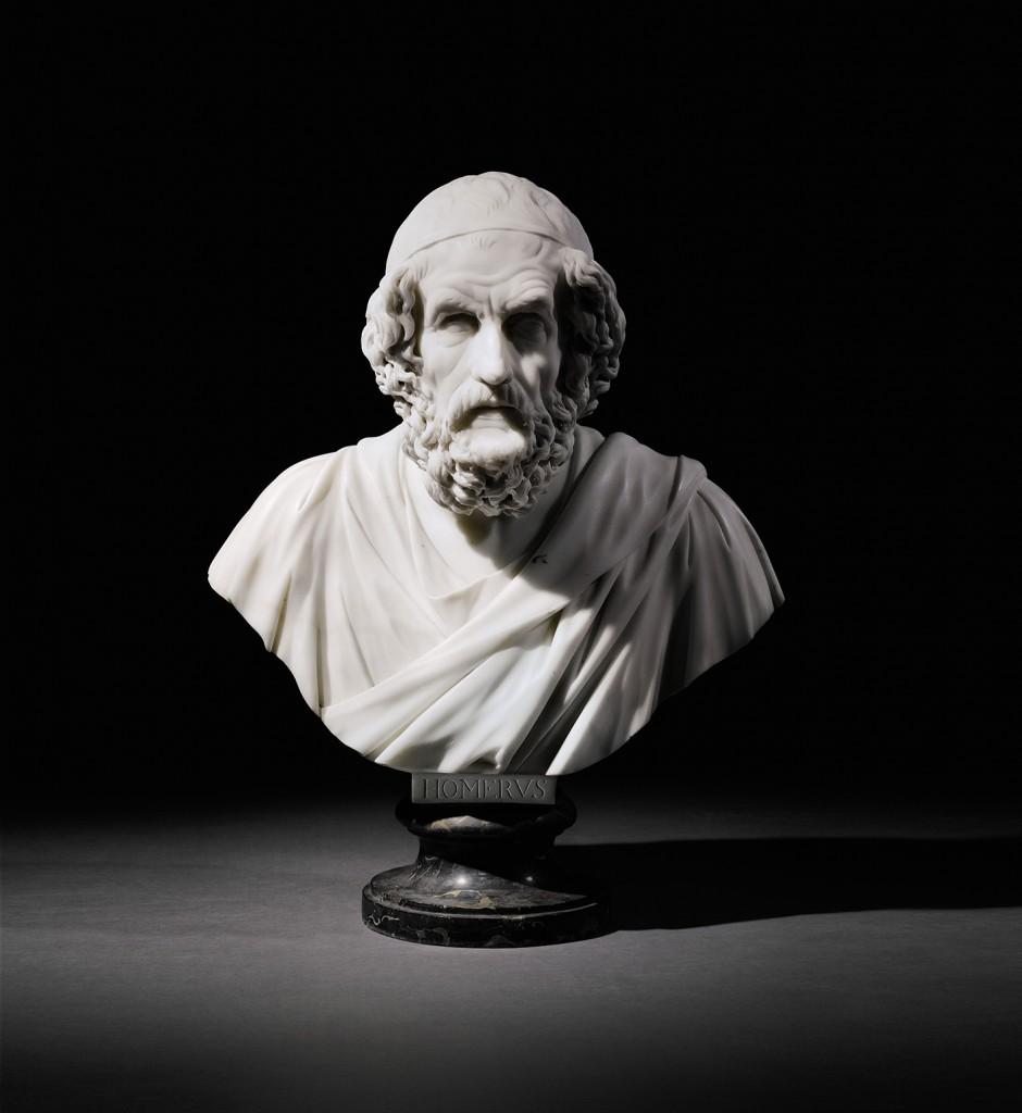 Busto de Homero en mármol blanco, de Francis Harwood, 1757. Salió a subasta en diciembre de 2014 con un precio estimado de 70.000-100.000 y se vendió en 242.500 libras.