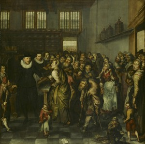 La distribución del pan en el hospicio, autor desconocido, 1627, 149,5 x 149 cm.